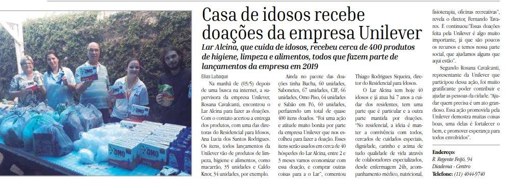 Casa de repouso para idosos Lar Alcina recebe doação da Unilever